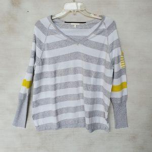 Lisa Todd Grey White Striped Long Sleeve Shirt